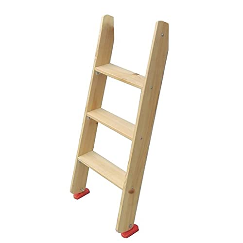 Taburete de escalera 3 Pasos Escaleras para Literas Gemelas con Ganchos Estable Taburete de Madera para Hogar/Loft/Biblioteca/Apartamentos, 1m de Altura