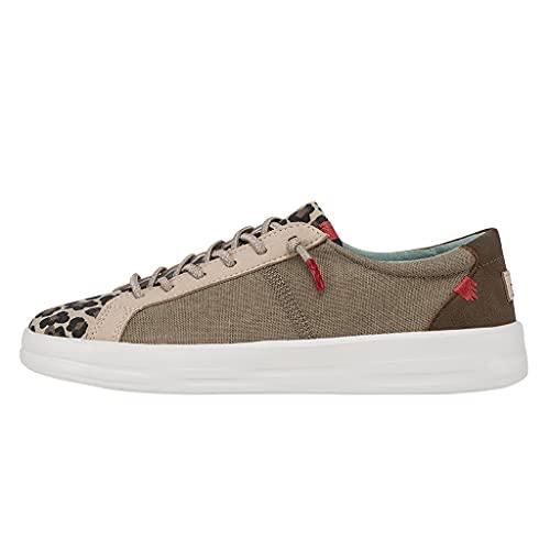 Hey Dude Women's Karina Beige Leopard Size 6   Women's Slip-on Sneakers   Women's Casual Shoes   Comfortable & Light-Weight