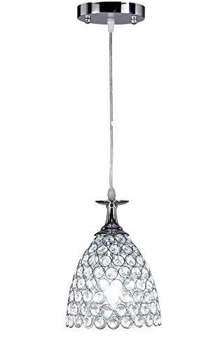 Diamond Life 1-Light Chrome Finish Metal Shade Crystal Chandelier Hanging Pendant Ceiling Lamp Fixture, 8251