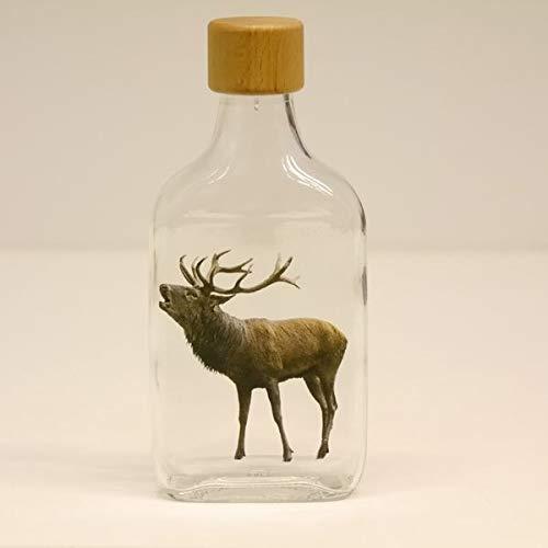 GTK - Geweihe & Trofee kromhouten fles 200 ml glazen fles Flachmann jeneverfles met jacht motief rood hert