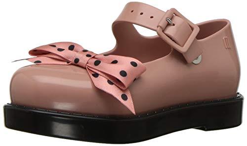 mini melissa Girls' Mini Maggie Bow Mary Jane Flat, BLK Pink, 10 Medium US Toddler