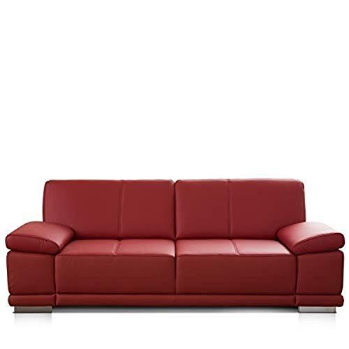 CAVADORE 3-Sitzer Sofa Corianne / Echtledercouch im modernen Design / Mit Armteilverstellung / 217 x 80 x 99 / Echtleder rot