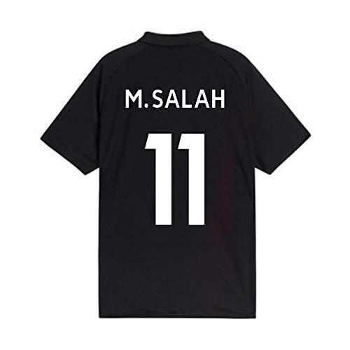 GAOZHENZHEN Camiseta Mohamed Salah # 11 de Cuello Redondo de Manga Corta los Hombres del Jersey de fútbol del Ventilador (Color : Black, Size : M)