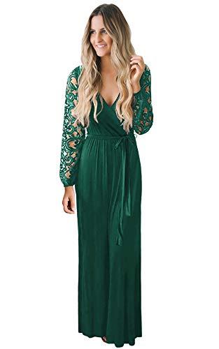 Zattcas Womens Vintage Floral Lace Long Sleeve Faux Wrap V Neck Party Long Maxi Dress (Apparel)