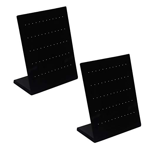Oorbellen Houder (Dubbel pak) van BELLE VOUS - Zwart Velours Sieraden Standaard Organiser Voor Oorbellen, met 60 Slots Voor 30 Paar, L-Vorm Oorbellen Display Standaard Voor Hangen van Knopjes en Display