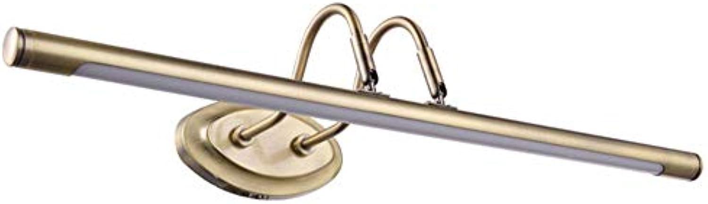 CMDDYY LED-Spiegel Scheinwerfer, Spiegelkabinett Leuchtet Bad Bad Leuchten, Dressing Tischlampe Retro Wasserdicht,Weiß,6W48cm