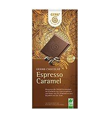 GEPA Bio Grand Chocolat Espresso Caramel 38% Kakao Flachtafel Vollmilch-Schokolade 1 Karton (10 x 100g)