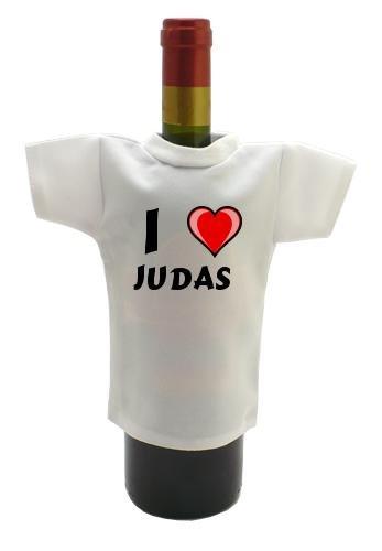 Camiseta blanca para botella de vino con Amo Judas (nombre