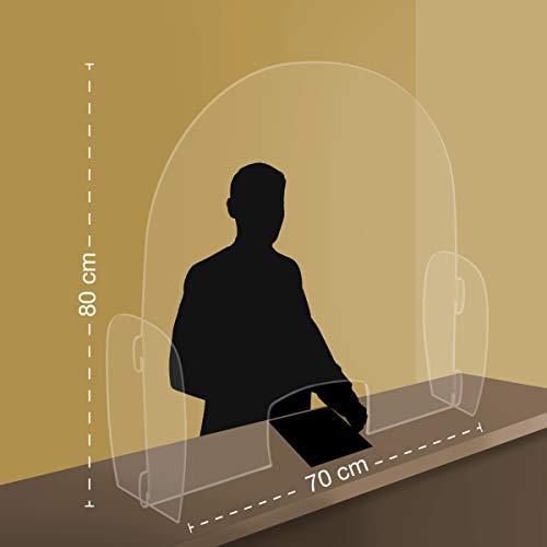 Generico Parafiato/parasputi da banco PRNF - Parete divisoria per la Sicurezza in plexiglass Trasparente con Apertura (70_x_80_cm)