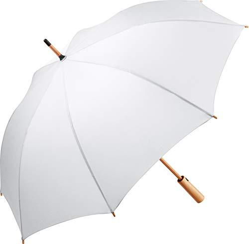 ÖkoBrella nachhaltiger Midsize-Bambus Stockschirm Regenschirm (Oeko-TEX® 100) mit Automatik-Funktion; Bezug aus recycelten Kunststoffen; hochwertiger Bambusgriff; Windproof-System (Weiß)