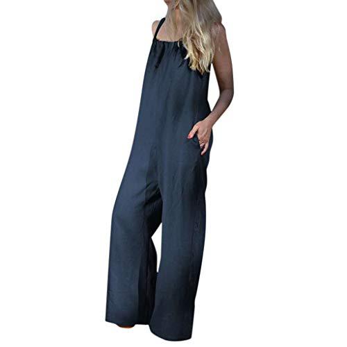 Women Summer Sleeveless Loose Wide Leg Bib Pants Jumpsuit Romper Playsuit Plus Blue