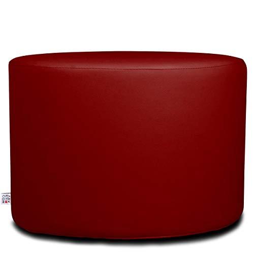 Arketicom Chill Pouf Poggiapiedi Rotondo Ecopelle Sfoderabile Puff Rosso 55x42