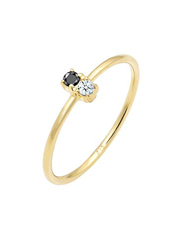 Elli PREMIUM Ring Damen Bi-Color Schwarzer mit Diamant (0.06 ct.) in 375 Gelbgold