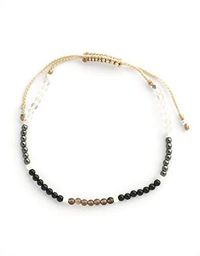 Kristal-Aura armband met natuurlijke edelstenen, zwarte toermalijn, hematiet, helder kwarts en rookkwarts. Zilveren parels. Grounding handmade in Bali, gesegneerd door een Balinese priester
