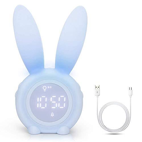 Yideng Reloj despertador lindo conejo, Despertador digital LED con control por voz y luz nocturna respirable, función Snooze, Muestra Tiempo Fecha Temperatura, Regalo para niños, niñas, mamis
