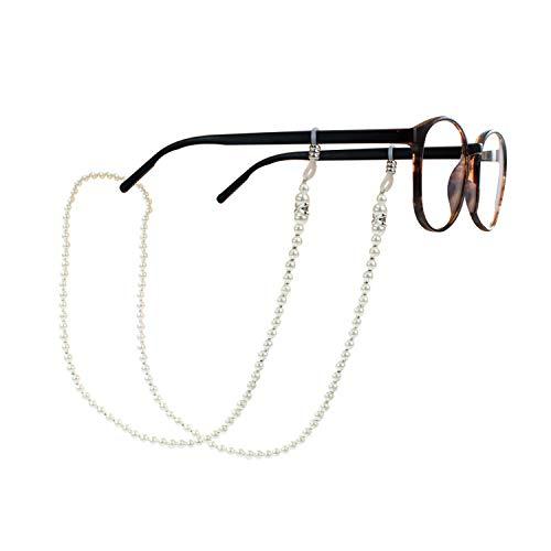 TRIXES Perlenacryl Brillenband Brillenkette - Brillenband für Brillen Aller Art - Lesebrille Sonnenbrille - Elegante Brillenkette für Damen mit Halteschlaufe und Schnurhalterung