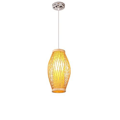 wangch Lámpara colgante de bambú moderna y simple, lámpara de techo con balcón para sala de estar, pantalla de bambú tejida a mano, lámparas de decoración de iluminación E27, pasillo de pasillo de dor