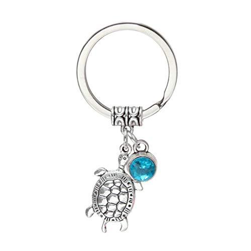 Pinhan - Llavero con colgante de tortuga con forma de bolso, colgante de animal, con bola de cristal de imitación para mujeres y niñas 6,5 cm Lake Blue