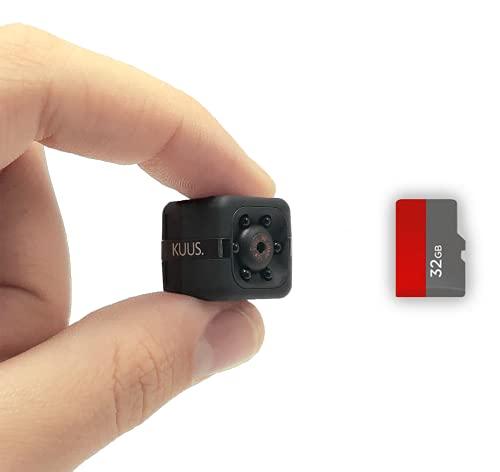 KUUS® - Mini Versteckte Kamera Für Spionage | Verborgene Überwachungskamera Für Innen Mit 32-GB-Speicherkarte | Mini Spy Cam Full HD 1080P