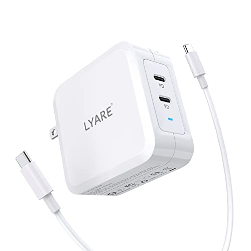 100w USB C Fast Charger, Lyare Dual Ports Type C Wall Charger, PD 3.0 GaN Tech USB C Power Adapter with Cable for MacBook Pro/Air, iPad Pro, iPhone 12 Pro, Nintendo Switch,2 Type C Ports(PD)