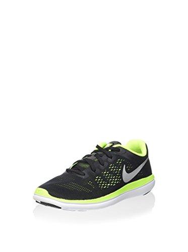 Nike Flex 2016 RN (GS), Zapatillas de Running Hombre, Negro (Negro (Black/Metallic Silver-Volt-White), 39 EU