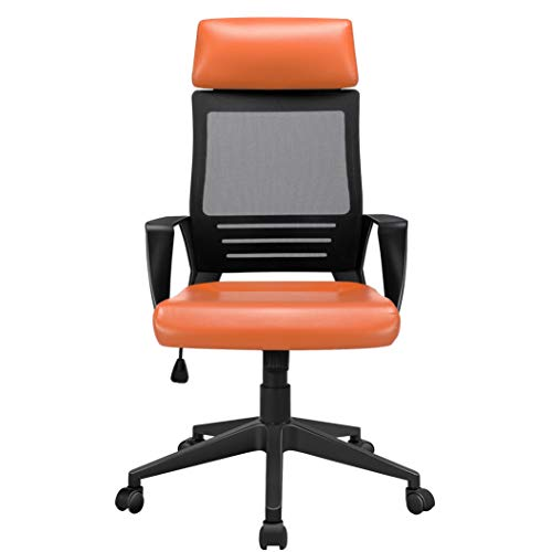 Yaheetech Leather Office Chair Computer Desk Chair Big and Tall Ergonomic High Back Gaming Chair w/Headrest Lumbar Support Comfortable Mesh Back Adjustable Swivel Rolling Home Executive, Orange