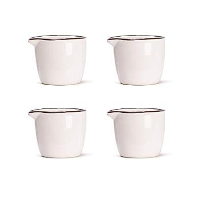 MDZF SWEET HOME Set of 4 Ceramic Creamer Jugs Mini Sauce Pitcher Milk Creamer Coffee Syrup Jar Server Dipping Bowls 2.1 Oz, White