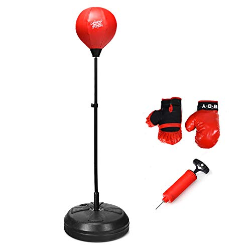 DREAMADE Boxset Boxstand für Kinder, Punchingball Set höhenverstellbar von 122cm-154cm, Punching Standbox für Kinder über 8 Jahre alt, Standboxsack mit Boxhandschuhen & Pumpe, Rot & Schwarz