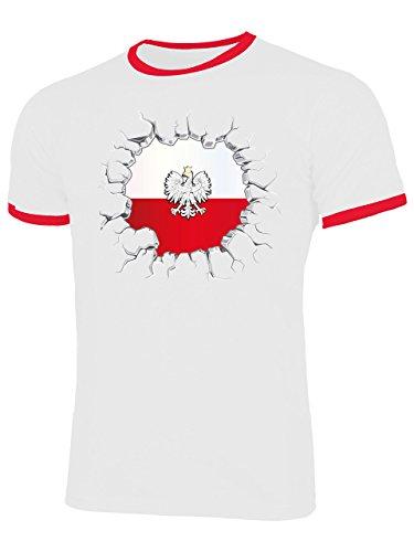 Polen Polska Poland Polski Polnische Koszulka Fanshirt Fussball Fußball Trikot Look Jersey Herren Männer Ringer Tee t Shirt Tshirt t-Shirt Fan Fanartikel Outfit Bekleidung Oberteil Hemd Artikel
