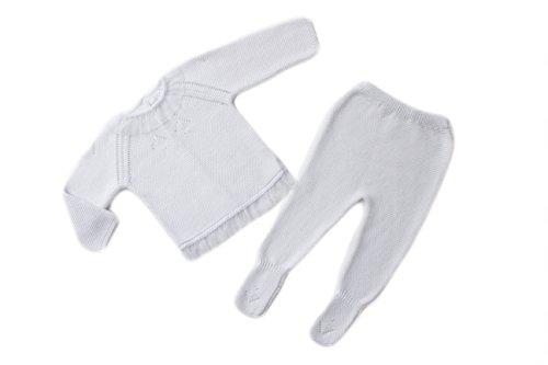Morisketa - Conjunto de 2 Piezas Tejido de Punto para Bebé Niña, 100% Algodón, Color Blanco (6 Meses)
