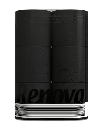 Renova Papel Higiénico Negro, 6 Rollos Premium, 3 Capas ExtraSuaves, Ligeramente Perfumado