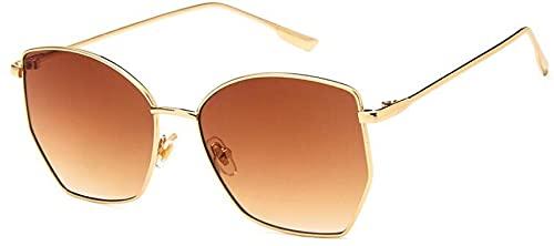 Gafas De Solgafas De Sol Retro Irregulares para Mujer Gafas De Sol Transparentes De MetalUv400 Gafas De Sol De Gran Tamaño Goldtea