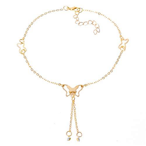 ZSDN Women Simple Butterfly Crystal Dangle Anklet Charm Rhinestone Tassel Ankle Bracelet Foot Chain for Women and Girls, Golden