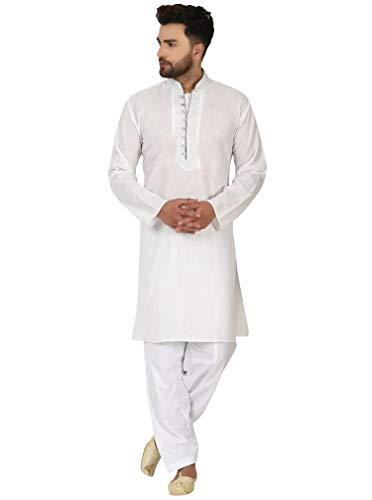SKAVIJ SKAVIJ Herren Baumwolle Sommer Kurta Pyjama Set Indisch Beiläufig Kleid (Weiß, XL)