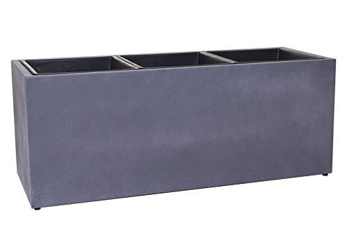 Pflanzkübel Blumenkasten Fiberzement Mikano, Grau in Beton-Optik (102x37x34 cm)