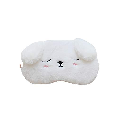 Ruiting Plüsch-Augenmaske Cover White Dog Soft-Reiseschlafmaske Blindfold Einstellbare Flugzeug eyeshade Blinder
