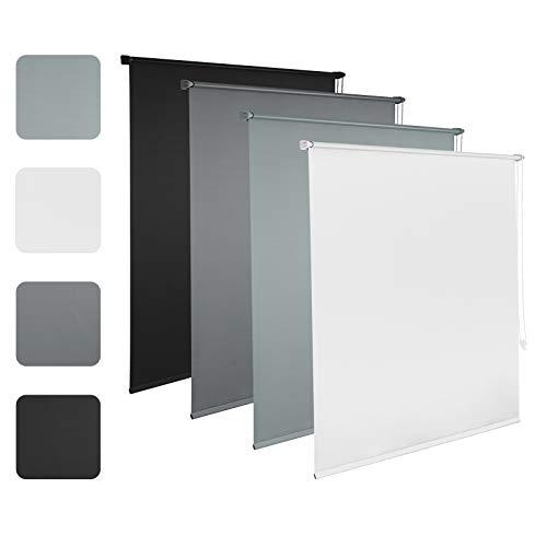 EUGAD Verdunkelungsrollo Thermorollo Klemmfix ohne Bohren, Seitenzugrollo mit gleichfarbige Zubehör und Beschichtung, Sonnen-, Sicht-Schutz usw. Klemmrollo für Fenster & Türen, Weiß 70x160 cm