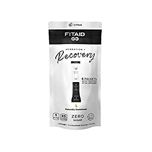 LIFEAID FITAID Go! Zero Sugar Recovery + Hydration Packet, BCAAs, Glucosamine, Electrolytes, Omega-3s, 100% Clean, Keto-Friendly, Vegan & Gluten-Free, 5 Calories, Naturally Sweetened, 6 Pack