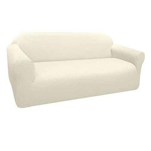 Granbest Funda de Sofá Elástica Súper Gruesa con Diseño Elegante Universal Funda Sofá 3 Plaza Antideslizante Protector Cubierta de Muebles(3 Plaza, Blanco Cremoso)