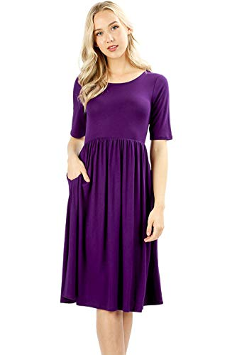 Sportoli Pleated Dresses for Women Solid Loose Plain Casual T-Shirt midi Dress W/Pockets