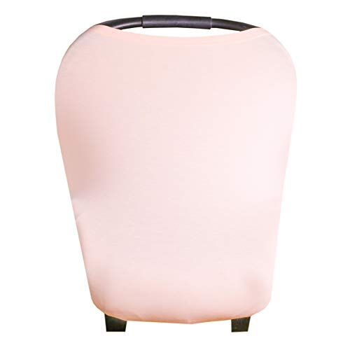 Baby Car Seat Cover Canopy and Nursing Cover Multi-Use Stretchy 5 in 1 Gift'Blush' by Copper Pearl