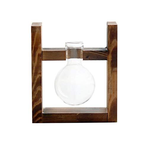 XYSQWZ Blumentöpfe Im Freien, Glaskugelvase Mit Holzständer Luftpflanzenhalter Vase Tischglas Terrarium Mit Röhrenvasen Für Gartenschreibtisch Im Innenhof