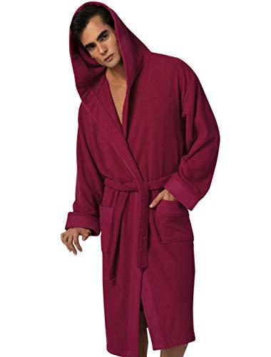Turkish Cotton Luxury Bathrobe Mens - Hooded Big, Tall, Loose Cut Cotton Terry Cloth Robe - Long Textured , Rice Weave Trim (Burgundy / Large)