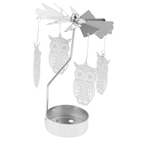 Fityle Christmas Decor Candle Spinner, Rotating Tea Light Candle Holder, Silver Snowflake Charms - Owl