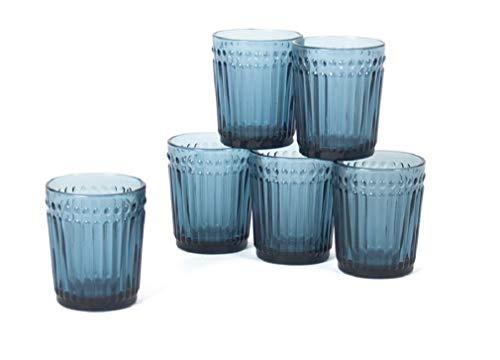 Gerimport Pack de 6 Vasos de Cristal Azul Medidas 9x9x10 cm Capacidad...