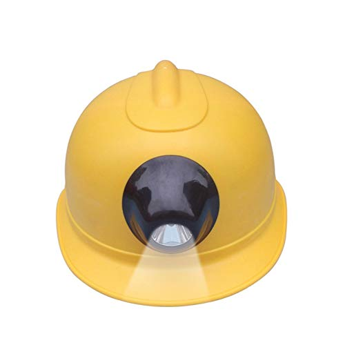 zhongxingenggeng Cascos- Visión Nocturna del Casco con lámpara del Casco del minero de carbón Mina Mina antidisturbios Casco Casco de Faro guarnición Tamaño Ajustable (Color : Yellow)