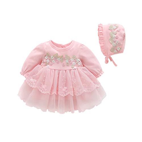 K-youth Vestido de Tul con Bordado para Niñas Primavera Niños para 0-18 Meses Tutu Vestidos de Princesa Manga Larga Infantil Mono Corto Plisado Niñas Vestido de Fiesta y Sombrero (Rosa, 0-3 Meses)