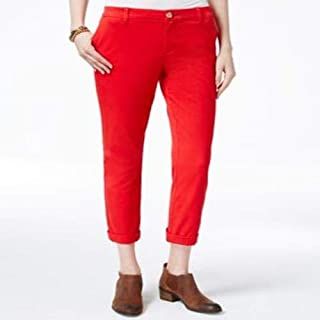 Tommy Hilfiger Rolled-Hem Straight-Leg Chino Racing Red 8