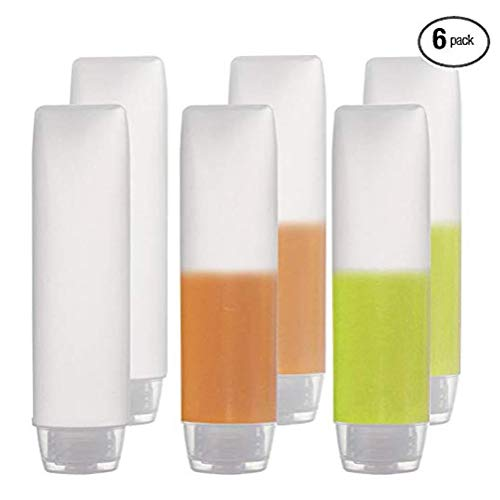 6PCS Empty Refillable White Plastic Squeeze Soft Tubes Bottle with Flip Lid Travel Sample Cosmetic Containers Vial Jar Dispense Accessories for Lotion Lotion Toothpaste Shampoo Conditioner 30ML/1OZ