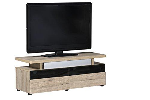 Jahnke TV Lowboard, E1 Spanplatte, Dekorbeschichtung, Metall, Sanremo Eiche hell-nachbildung, 120 x 42 x 45.400000000000006 cm